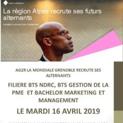 AG2R LA MONDIALE GRENOBLE recrute ses alternants le mardi 16 Avril 2019
