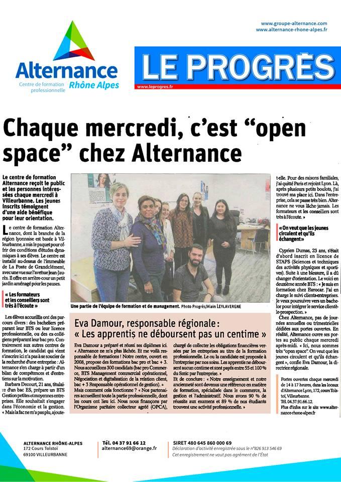 Alternance Lyon, article presse du Progrès